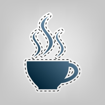 long bean: Cup sign with three small streams of smoke. Vector. Blue icon with outline for cutting out at gray background.