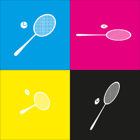 Tennis racquet sign. Vector. White icon with isometric projections on cyan, magenta, yellow and black backgrounds. Ilustração