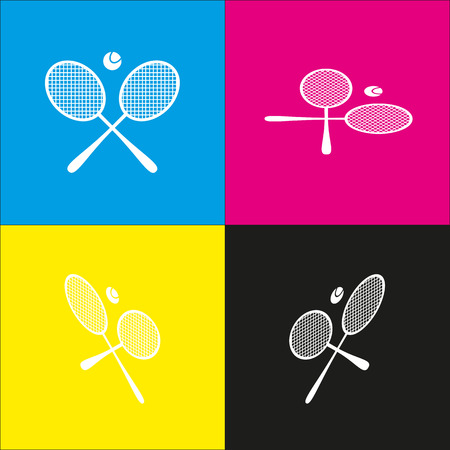 Tennis racket sign. Vector. White icon with isometric projections on cyan, magenta, yellow and black backgrounds.