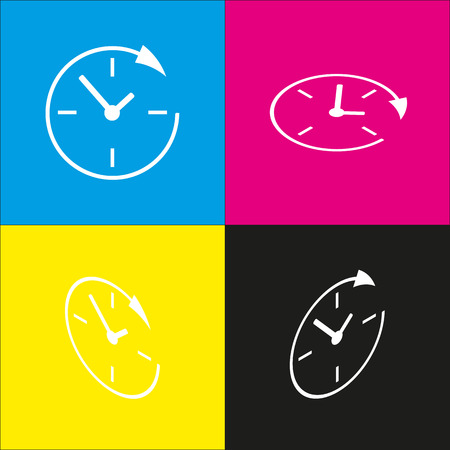 every day: Service and support for customers around the clock and 24 hours. Vector. White icon with isometric projections on cyan, magenta, yellow and black backgrounds.