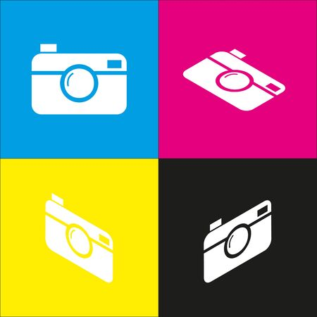 Digital photo camera sign. Vector. White icon with isometric projections on cyan, magenta, yellow and black backgrounds. Illustration
