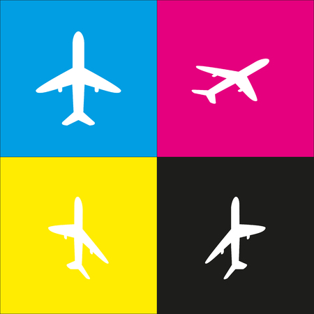 Airplane sign illustration. Vector. White icon with isometric projections on cyan, magenta, yellow and black backgrounds.