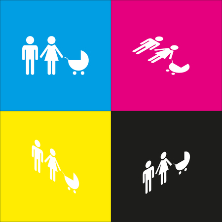 mother and baby: Family sign illustration. Vector. White icon with isometric projections on cyan, magenta, yellow and black backgrounds. Illustration