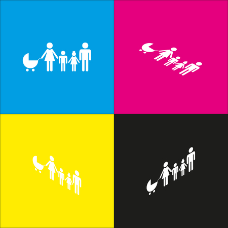 familiar: Family sign illustration. Vector. White icon with isometric projections on cyan, magenta, yellow and black backgrounds. Illustration