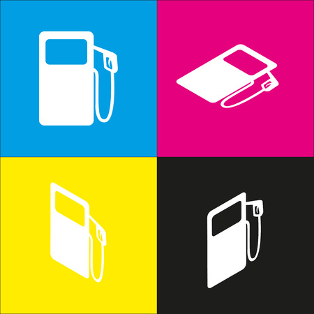 filling station: Gas pump sign. Vector. White icon with isometric projections on cyan, magenta, yellow and black backgrounds. Illustration