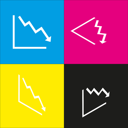 exchange loss: Arrow pointing downwards showing crisis. Vector. White icon with isometric projections on cyan, magenta, yellow and black backgrounds.