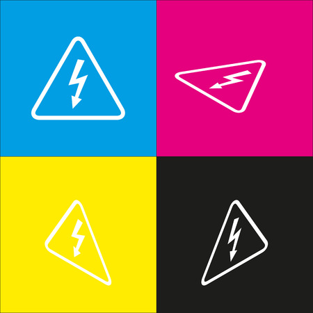 High voltage danger sign. Vector. White icon with isometric projections on cyan, magenta, yellow and black backgrounds.