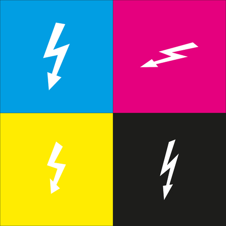 volte: High voltage danger sign. Vector. White icon with isometric projections on cyan, magenta, yellow and black backgrounds.