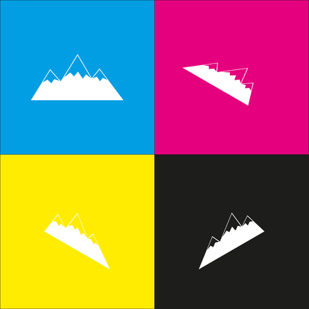 snow capped: Mountain sign illustration. Vector. White icon with isometric projections on cyan, magenta, yellow and black backgrounds. Illustration