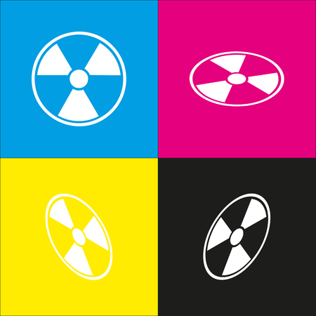 Radiation Round sign. Vector. White icon with isometric projections on cyan, magenta, yellow and black backgrounds.