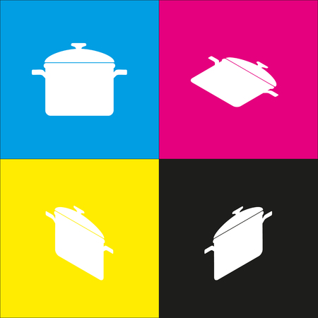 Cooking pan sign. Vector. White icon with isometric projections on cyan, magenta, yellow and black backgrounds. Illustration