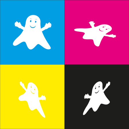Ghost isolated sign. Vector. White icon with isometric projections on cyan, magenta, yellow and black backgrounds.