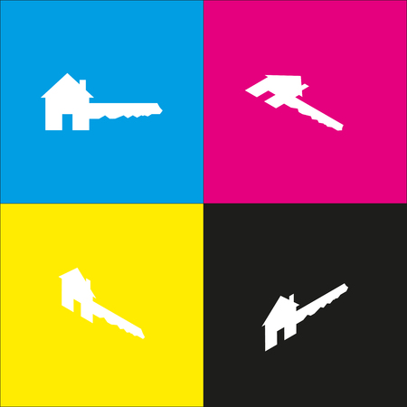 Home Key sign. Vector. White icon with isometric projections on cyan, magenta, yellow and black backgrounds.
