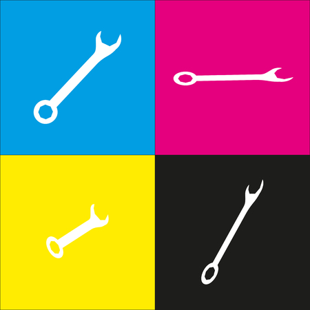 Crossed wrenches sign. Vector. White icon with isometric projections on cyan, magenta, yellow and black backgrounds.