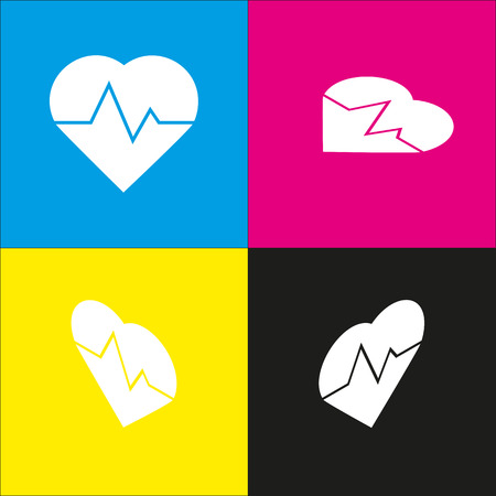 brand monitoring: Heartbeat sign illustration. Vector. White icon with isometric projections on cyan, magenta, yellow and black backgrounds.