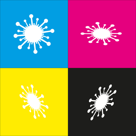 virus cell: Virus sign illustration. Vector. White icon with isometric projections on cyan, magenta, yellow and black backgrounds. Illustration