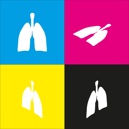 Human anatomy. Lungs sign. Vector. White icon with isometric projections on cyan, magenta, yellow and black backgrounds. Illustration