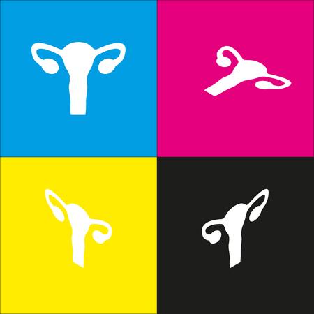 Signo Del Cuerpo Humano Anatomía Del útero. Estilo Isométrico Del ...