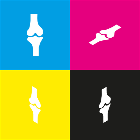 aging: Knee joint sign. Vector. White icon with isometric projections on cyan, magenta, yellow and black backgrounds.