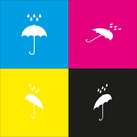 Umbrella with water drops. Rain protection symbol. Flat design style. Vector. White icon with isometric projections on cyan, magenta, yellow and black backgrounds.