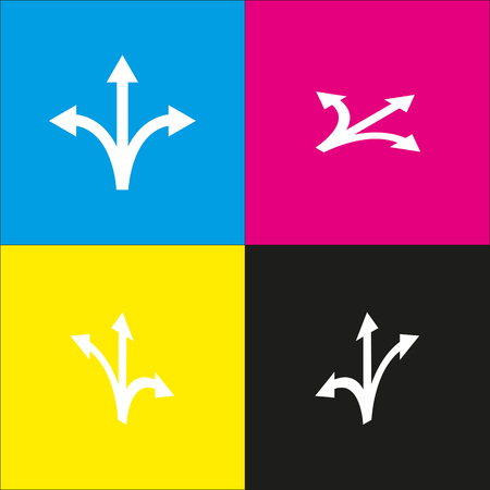 Three-way direction arrow sign. Vector. White icon with isometric projections on cyan, magenta, yellow and black backgrounds. Illustration