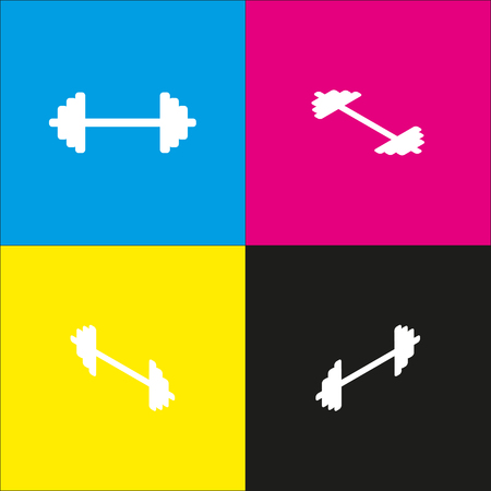 Dumbbell weights sign. Vector. White icon with isometric projections on cyan, magenta, yellow and black backgrounds. Illustration