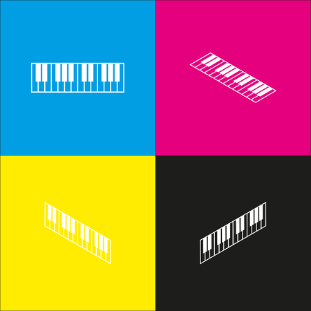 Piano Keyboard sign. Vector. White icon with isometric projections on cyan, magenta, yellow and black backgrounds. Illustration