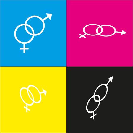 セックス シンボル サイン。ベクトル。シアン、マゼンタ、黄色、および黒の背景で等尺性突起のついた白いアイコン。