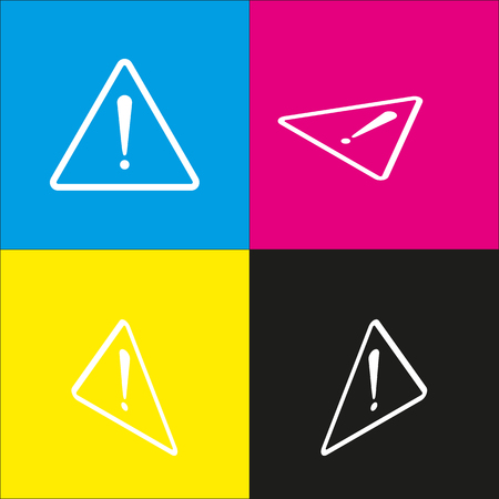 Exclamation danger sign. Flat style. Vector. White icon with isometric projections on cyan, magenta, yellow and black backgrounds.