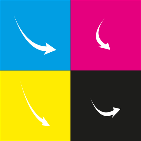 Declining arrow sign. Vector. White icon with isometric projections on cyan, magenta, yellow and black backgrounds.