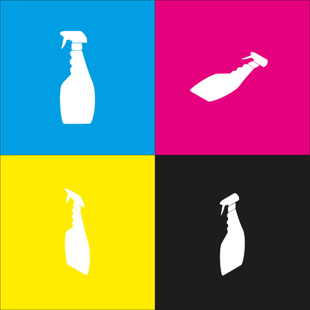 antiseptic: Plastic bottle for cleaning. Vector. White icon with isometric projections on cyan, magenta, yellow and black backgrounds. Illustration