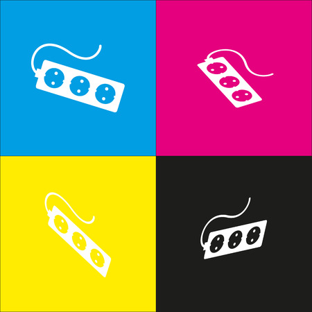 amp: Electric extension plug sign. Vector. White icon with isometric projections on cyan, magenta, yellow and black backgrounds. Illustration