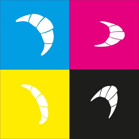 Croissant simple sign. Vector. White icon with isometric projections on cyan, magenta, yellow and black backgrounds.