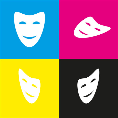 Comedy theatrical masks. Vector. White icon with isometric projections on cyan, magenta, yellow and black backgrounds.
