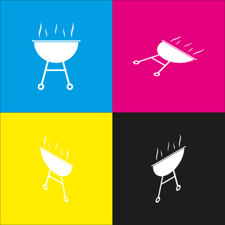 Barbecue simple sign. Vector. White icon with isometric projections on cyan, magenta, yellow and black backgrounds. Illustration