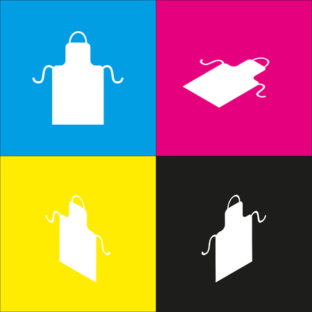 textile industry: Apron simple sign. Vector. White icon with isometric projections on cyan, magenta, yellow and black backgrounds. Illustration