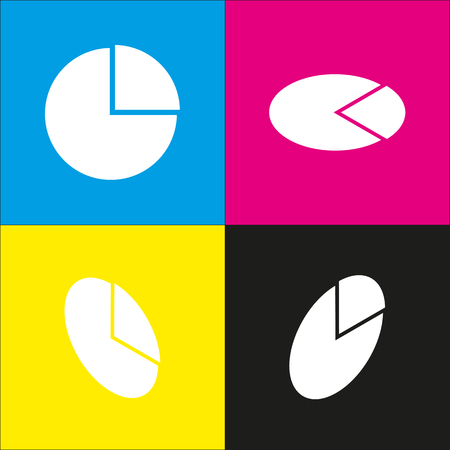 cyan business: Business graph sign. Vector. White icon with isometric projections on cyan, magenta, yellow and black backgrounds. Illustration