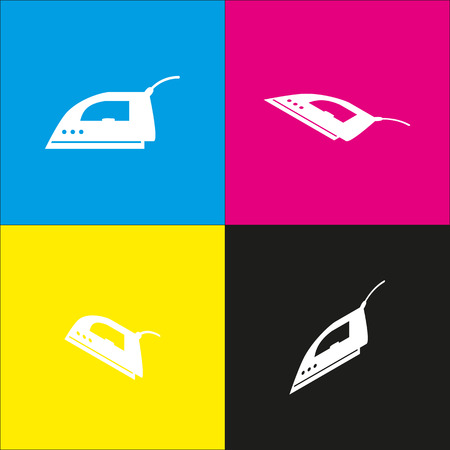 steam iron: Smoothing Iron sign. Vector. White icon with isometric projections on cyan, magenta, yellow and black backgrounds. Illustration