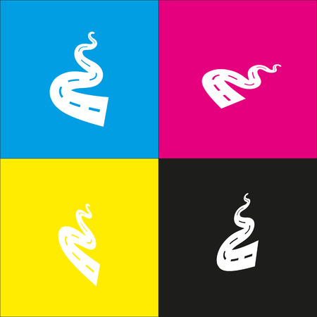 Road simple sign. Vector. White icon with isometric projections on cyan, magenta, yellow and black backgrounds.