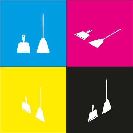 Dustpan vector sign. Scoop for cleaning garbage housework dustpan equipment. Vector. White icon with isometric projections on cyan, magenta, yellow and black backgrounds. Illustration
