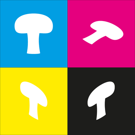 Mushroom simple sign. Vector. White icon with isometric projections on cyan, magenta, yellow and black backgrounds. Illustration