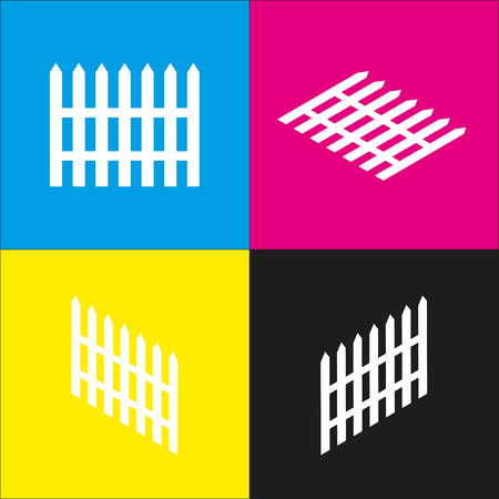 Fence simple sign. Vector. White icon with isometric projections on cyan, magenta, yellow and black backgrounds.