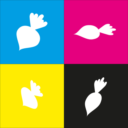 Beet simple sign. Vector. White icon with isometric projections on cyan, magenta, yellow and black backgrounds. Illustration
