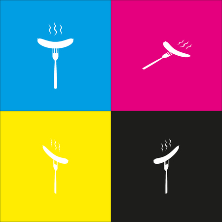 Sausage on fork sign vector. White icon with isometric projections on cyan, magenta, yellow and black backgrounds.