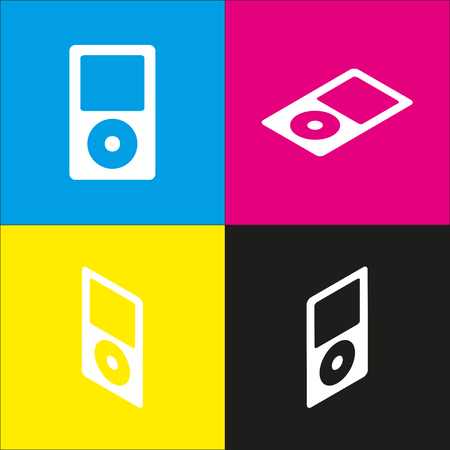 mp: Portable music device vector. White icon with isometric projections on cyan, magenta, yellow and black backgrounds.