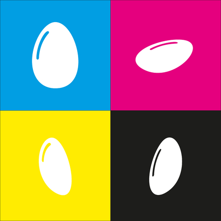 Chicken egg sign vector. White icon with isometric projections on cyan, magenta, yellow and black backgrounds.