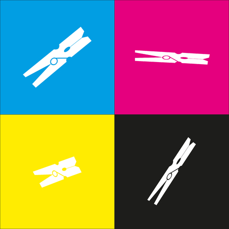 distinct: Clothes peg sign vector. White icon with isometric projections on cyan, magenta, yellow and black backgrounds.