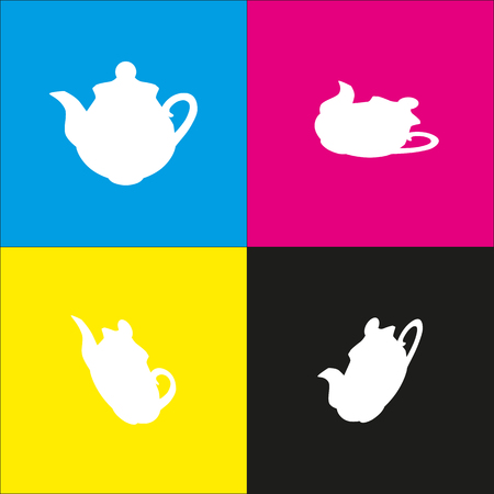 Tea maker sign vector. White icon with isometric projections on cyan, magenta, yellow and black backgrounds.