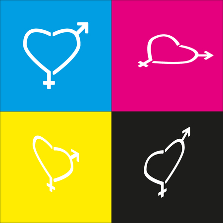 Gender signs in heart shape. Vector. White icon with isometric projections on cyan, magenta, yellow and black backgrounds.