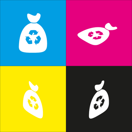 food waste: Trash bag icon. Vector. White icon with isometric projections on cyan, magenta, yellow and black backgrounds.